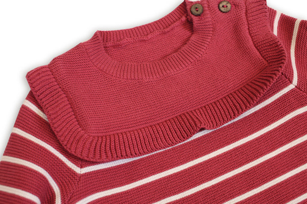 Marseille Organic Cotton Knit Holiday Dress for Baby Girl by Viverano