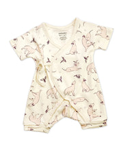 Viverano Organic Cotton Kai Labrador Dog Design Kimono Romper for Baby Girl - Gift Ideas