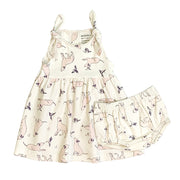 Organic Cotton Kai Labrador Dog Design Knotted Strap Dress for Baby Girl