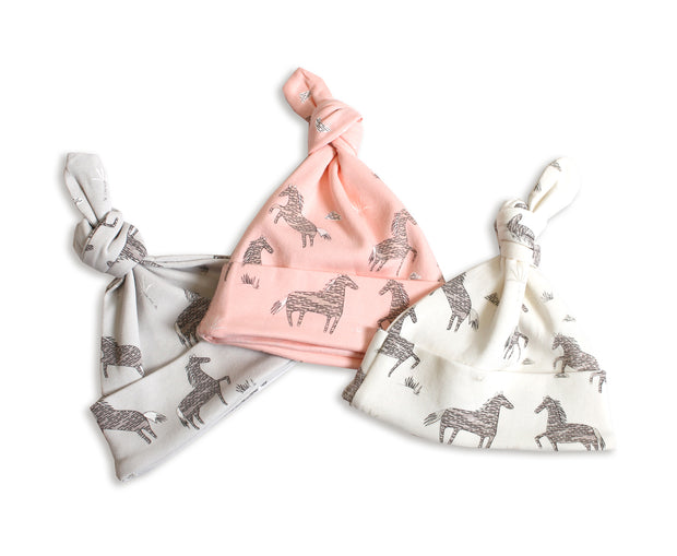Wild & Free Horse Organic Cotton Knotted Hat for Babies - Baby Shower Gifts