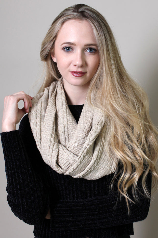 Viverano Organic Cotton Soft Cable Knit Infinity Scarf
