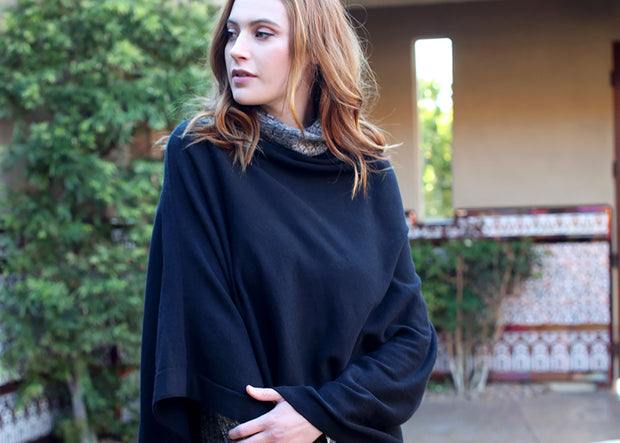 Loving Thread LUXE Organic Cotton Knit 5-Way Poncho Pullover Coverup By Viverano