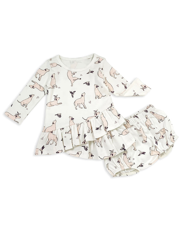 Kai Dog & Hummingbird Tulip Dress & Bloomer Set
