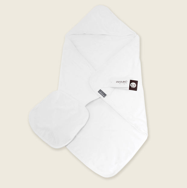 Organic Cotton Hooded Towel for Baby - Pure White