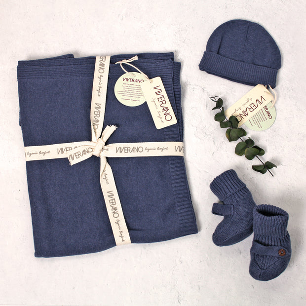 Milan Heather Knit Classic Baby Blanket, Booties and Hat for Babies by Viverano