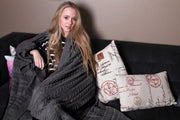 Pure Organic Cotton Cable Knit Throw Blankets Charcoal Color