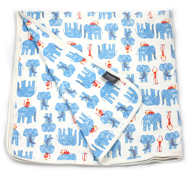 Viverano Jaipur Organic Cotton Baby Blankets (Elephants & Monkeys) Reversible