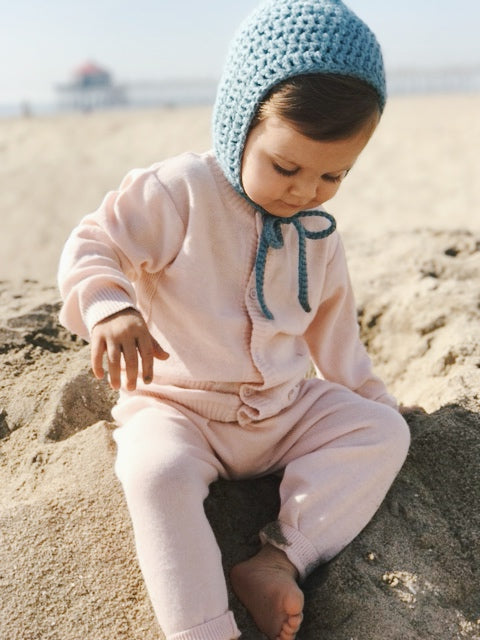 Viverano Organic Cotton Knit Button Cardigan Sweater for Babies