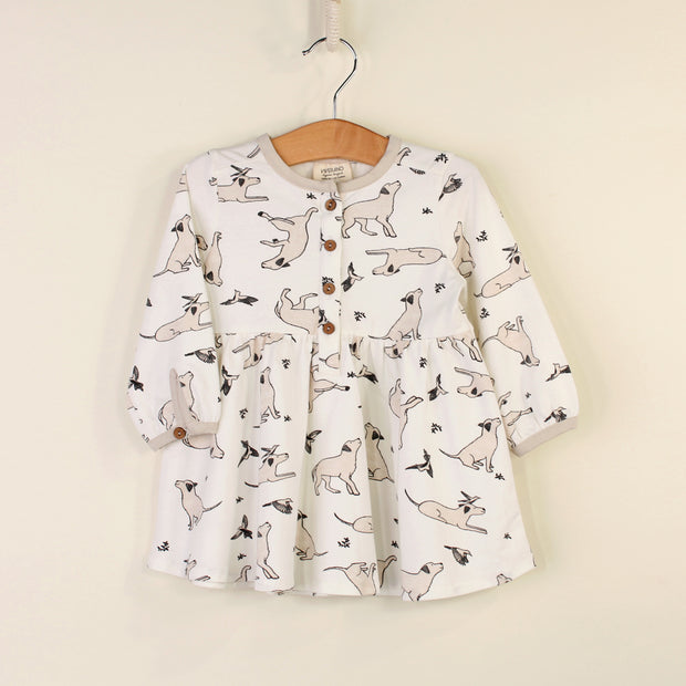 Kai Dog & Hummingbird Flare & Button Dress for Babies by Viverano