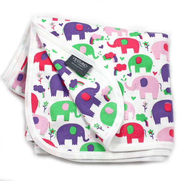 Viverano Organic Cotton Baby Blanket (Pink Elephants) Reversible, Double Layer