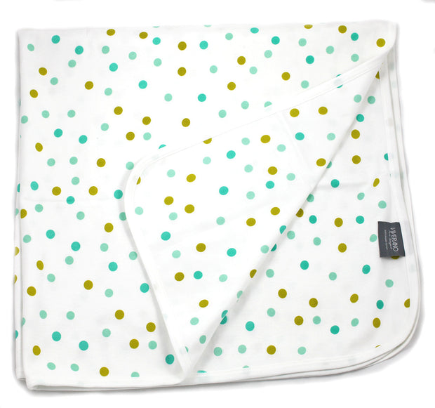 Viverano Organic Cotton Baby Blankets (Polka Dots) Reversible, Double Layer