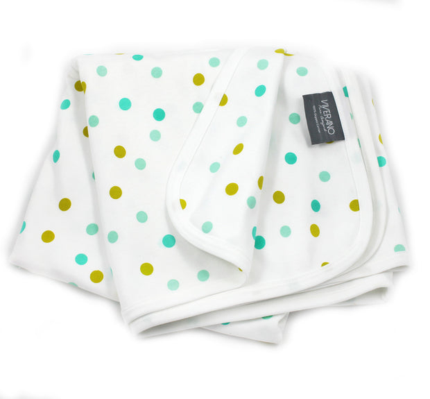 Viverano Organic Cotton Baby Blanket (Polka Dots) Reversible, Double Layer