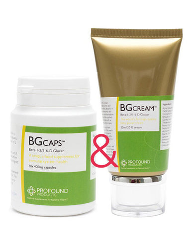 Beta Glucan Combo BG-Cream™ (50ml) + BG-Caps™ (60 x 400mg capsules) tubs