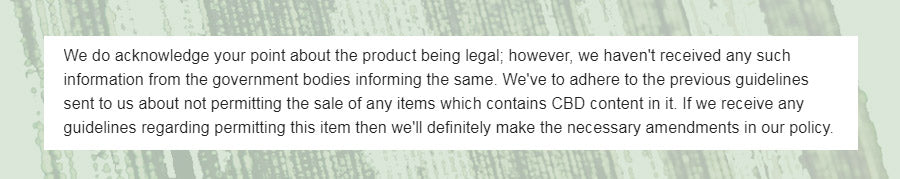 Response from Ebay on CBD oil