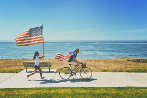 USA American couple bicycle