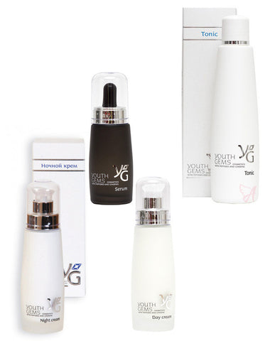 Youth Gems 4x Peptide Bundle Tonic, Serum, Day Cream and Night Cream Tubs