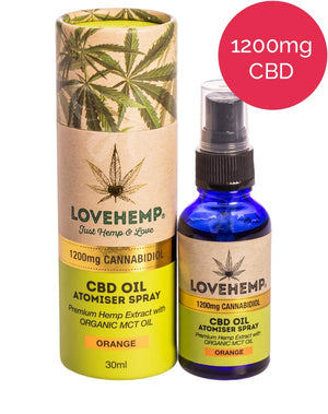 1200mg CBD Oil Spray (MCT) Love Hemp - Orange