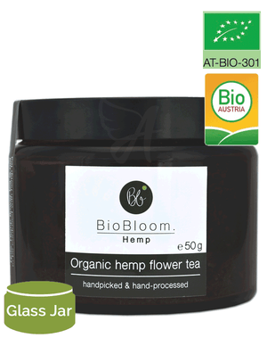 BioBloom Organic Hemp Flower Tea (50g glass jar) Ideal Gift-for the Ageless