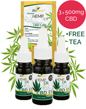 Biopurus Sale: 3 x 5% CBD oil + Free 1.6% CBD Hemp Tea-for the Ageless