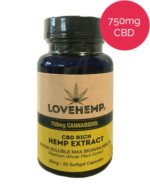 CBD Oil Capsules - Love Hemp UK (30 x 25mg Cannabidiol)-for the Ageless