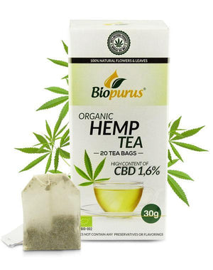 Hemp Tea Bags 1.6% CBD Biopurus UK - Organic-for the Ageless