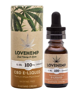 Love Hemp UK CBD Vape Oil e Liquid (100mg or 250mg) CUSTARD CREAM-for the Ageless