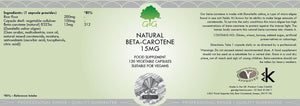 Natural Beta Carotene from Micro-Algae (120 x 15mg capsules) | G&G-for the Ageless