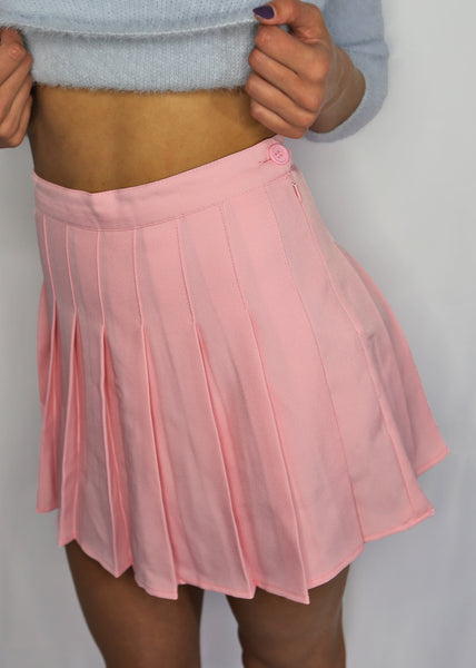 So Aesthetical Pink Pleated Skirt