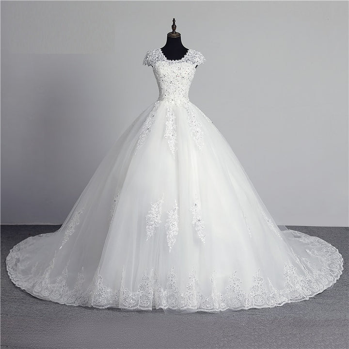 Women's Sequined Lace-Up Wedding Dress With Appliques