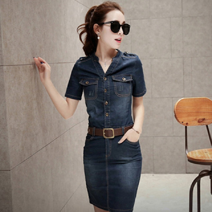 Women's Summer Casual Denim Sheath V-Neck Dress