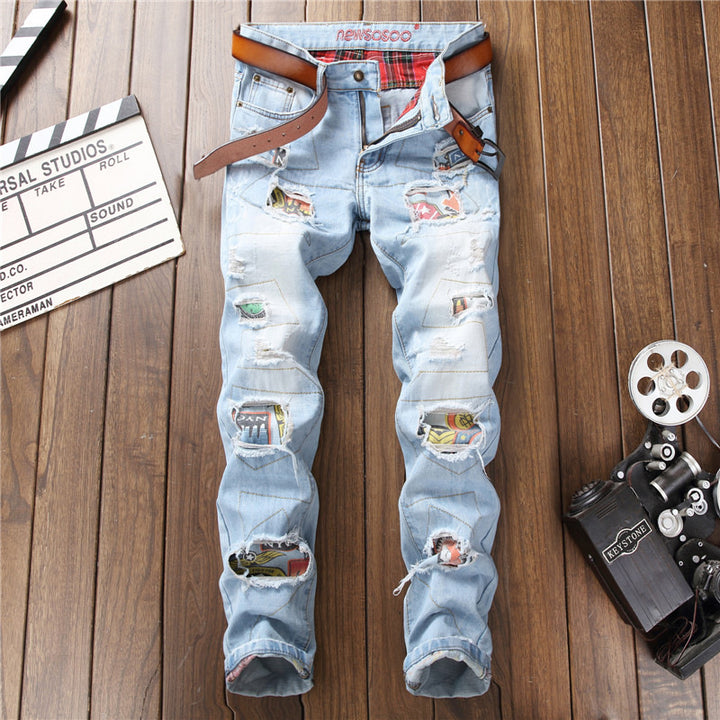 Men's Casual Straight Ripped Stretch Jeans