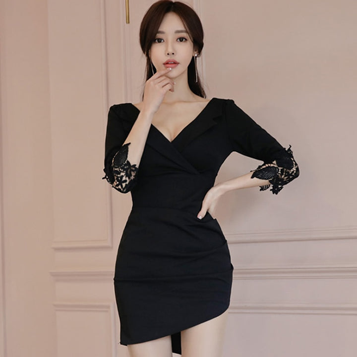 Women's Summer Sheath V-Neck Patchwork Mini Dress