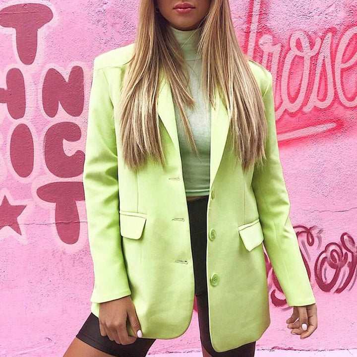 Women's Spring/Autumn Casual Polyester Long-Sleeved Blazer