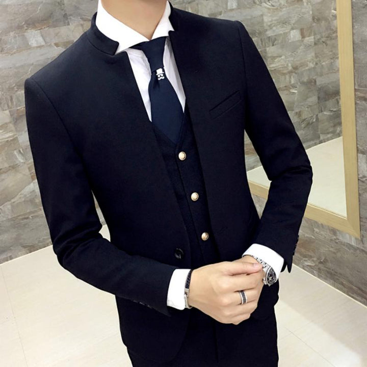 Men's Slim Fit Blazer With Mandarin Collar