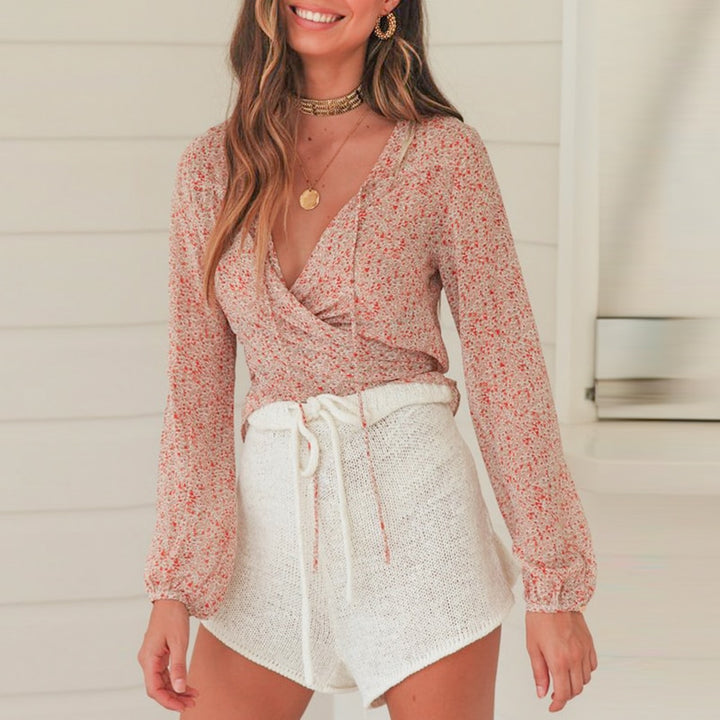 Women's Summer V-Neck Mesh Long-Sleeved Crop Top