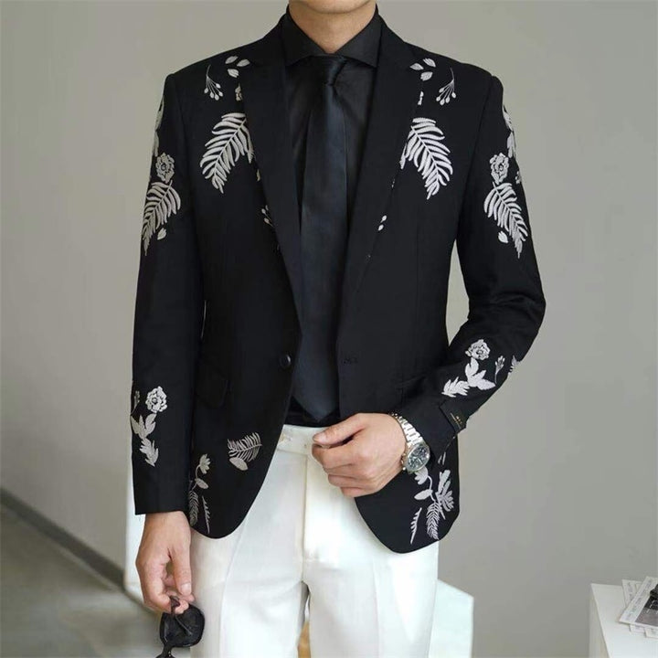 Men's Single Breasted Blazer With Embroidery
