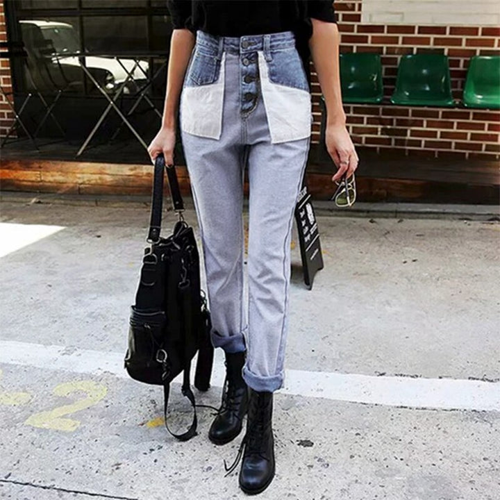 Women's Casual High-Waist Jeans With Fake Pockets