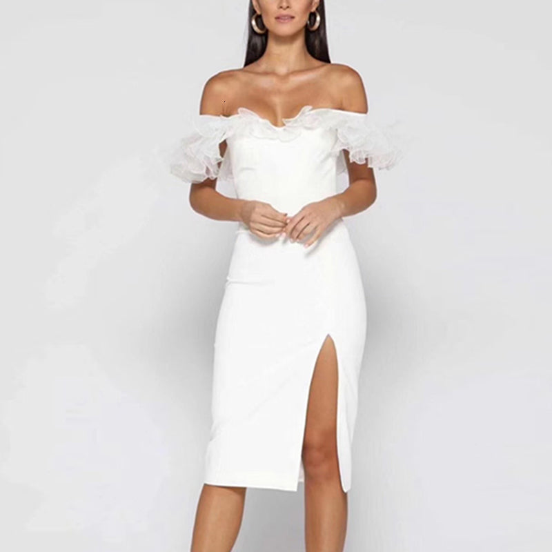 Women's Summer High-Waist Off-Shoulder Dress With Mesh
