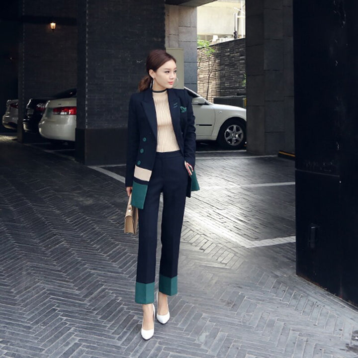 Women's Spring/Autumn Patchwork Polyester Two-Piece Suit