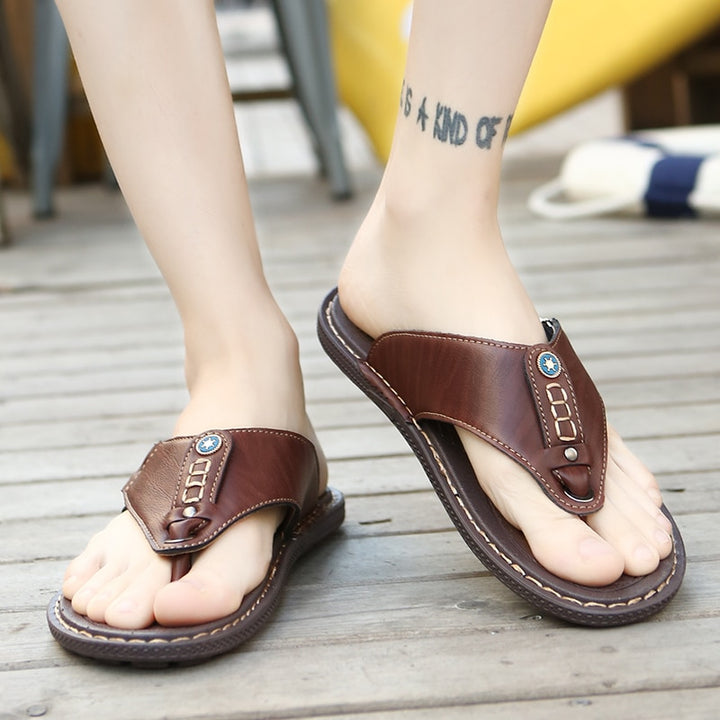 Men's Summer Leather Flip Flops