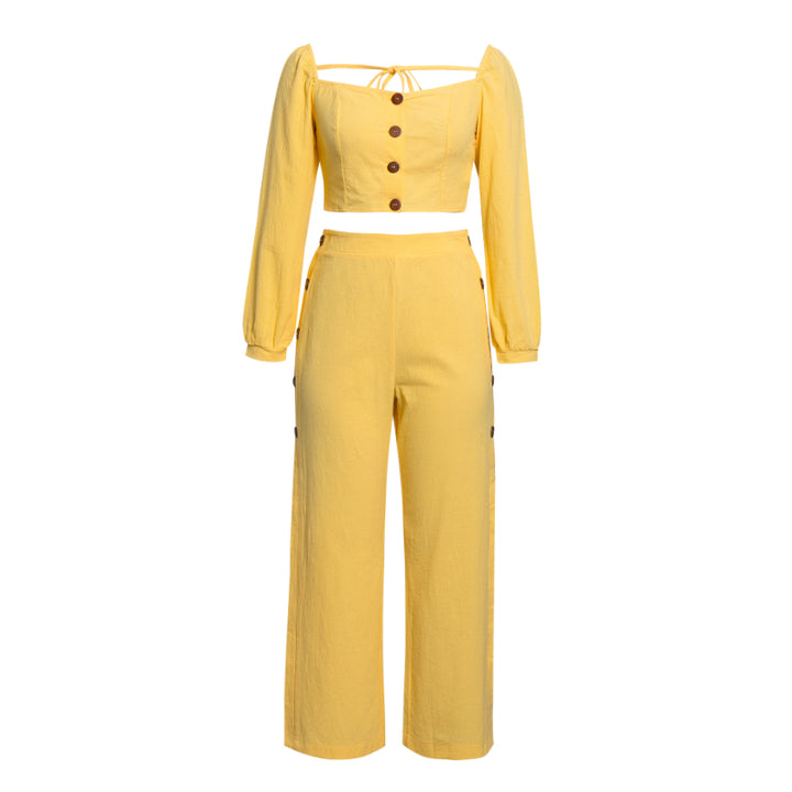 Women's Summer Casual High-Waist Rayon Two-Piece Jumpsuit