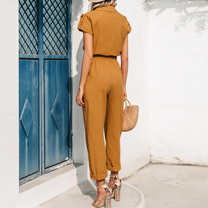 Women's Summer Casual High-Waist V-Neck Short-Sleeved Jumpsuit