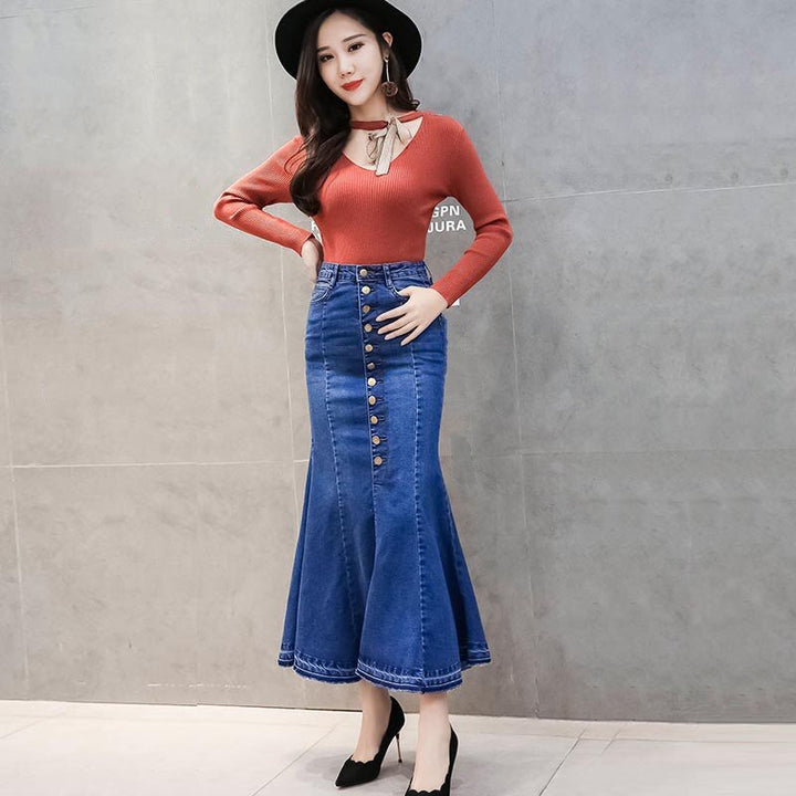 Women's Casual Denim Long Ruffled High-Waist Skirt