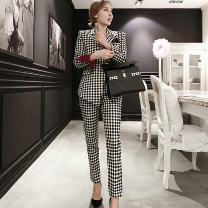 Women's Spring/Autumn Casual V-Neck Polyester Two-Piece Suit