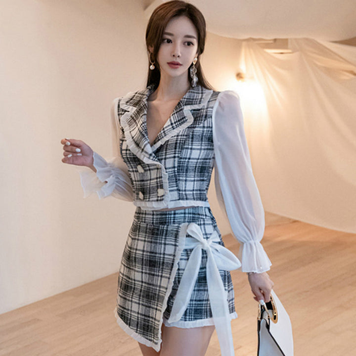 Women's Summer Polyester Flare-Sleeved Two-Piece Mini Romper