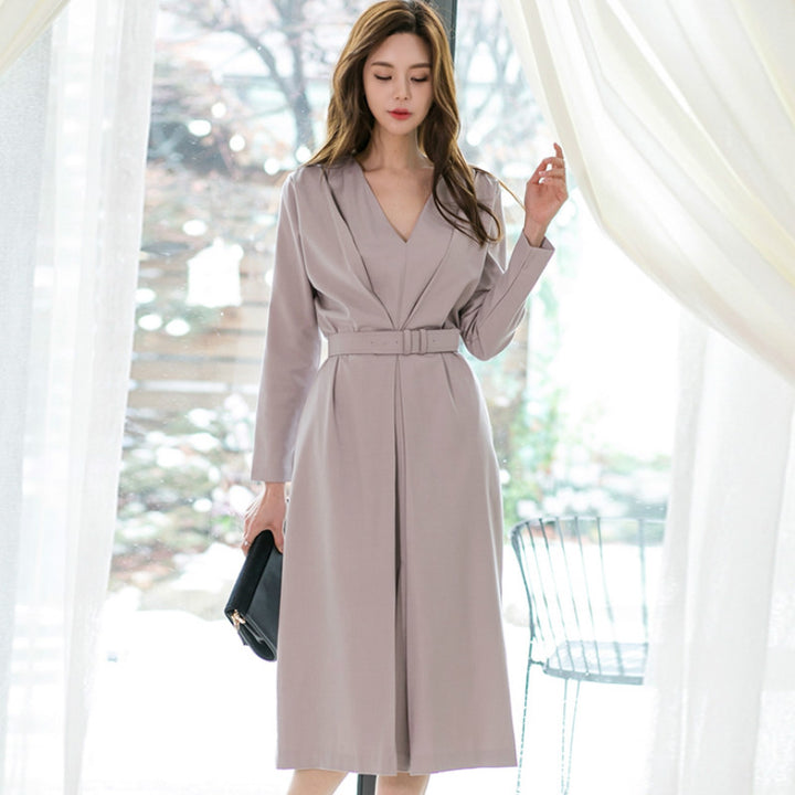 Women's Spring/Autumn Casual Polyester V-Neck Long-Sleeved Dress