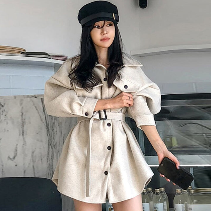 Women's Autumn/Winter Casual Loose Batwing-Sleeved Wool Trench