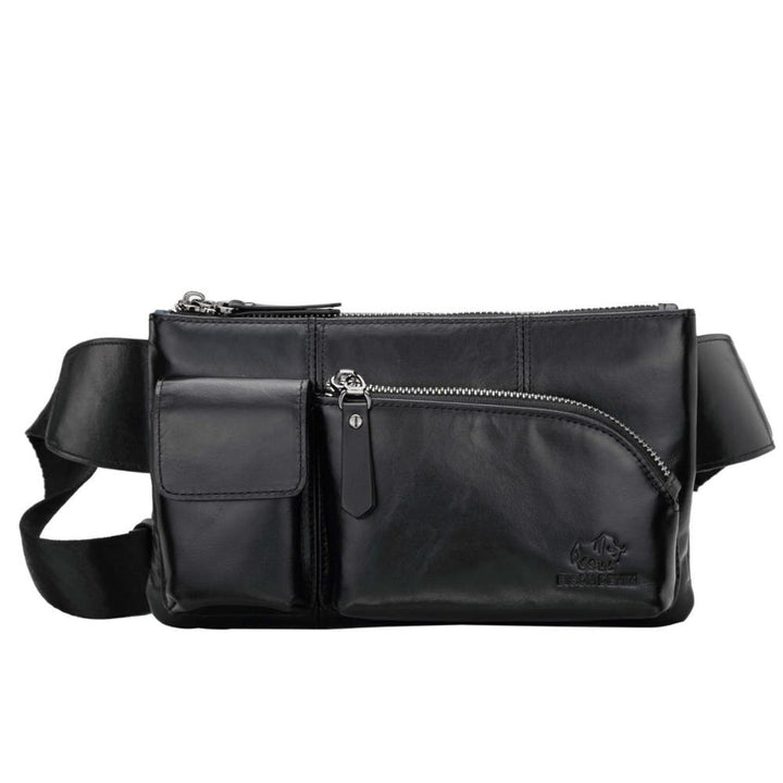 Men's Genuine Leather Waist Pack With Zipper