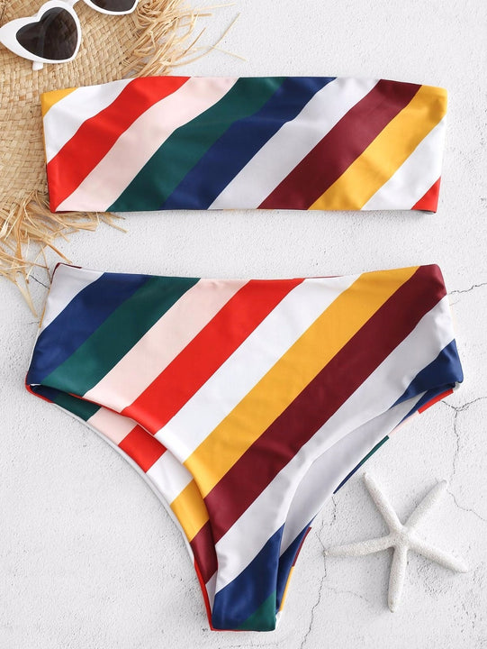 Women's Summer Two-Piece Striped Padded Swimsuit With Print