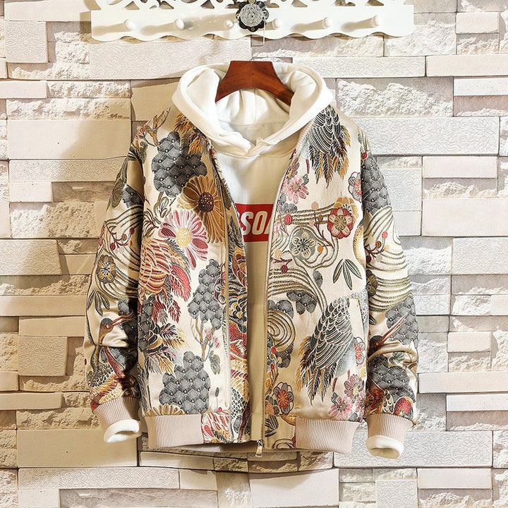 Men's Spring/Autumn Casual Patchwork Long-Sleeved Jacket With Print